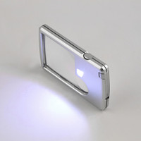 Wholesale 1pcs x x Magnifying LED Light Jewelry Loupe Credit Card Magnifier Leather Case Hot Selling