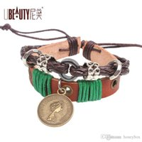 age coppers - Ubeauty classical royal coin leather Bracelets Middle Ages ornament original fashion brand DHL freeshipping OEM