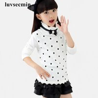 Wholesale 2016 Fall Winter Lace Bow Flower White Pink School Girl Blouse Big Girls Tops And Blouses Long Sleeve Shirt For Kids Baby JW0594