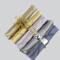 Wholesale pieces Dark Green Emerald Satin Dinner Napkin Handkerchiefs Wedding Party Decor Craft mouth cloth colorful napkin