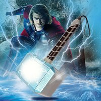 Wholesale 28cm LED Glowing and Souding The Avengers Alliance Superhero Thor Hammer Action Figure Children s toy weapons thor hammer toy