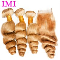 Wholesale Color Loose wave Brazilian Human Hair Extensions bundles with a closure lace closure Grade A Shipping Free