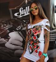 al por mayor cultivos blancas-Verano Moda Mujer Larga Fondo Blanco T Jordania Camisetas Piedad Impresión Chaqueta Oso Camisetas Mujer Algodón Blusa Más Talla Camiseta