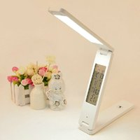aluminum alarm clock - Dimmable LED Desk Lamps Foldable Rechargable Reading Table Lamp Light Touch Control Calendar Alarm Clock Temperature Lamp