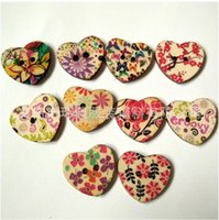 Wholesale 100 Mixed Printed Flower Heart Shape Wooden Sewing Buttons Scrapbooking DIY x22mm