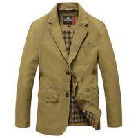 Wholesale Famous Brand Casual Blazer Men High Quality Cotton Denim Parkas Men s Outwear Jackets Army Green Khaki Black Large Size M XL