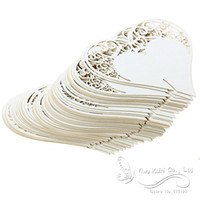 Wholesale Wedding Table Decoration Place Cards Wedding Party Decoration Laser Cut Heart Floral Wine Glass Place Cards
