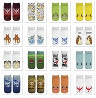 Wholesale Adult Poke go Socks Poke Pikachu Squirtle Ash Boat Monster Ankle Poke Pikachu Ship Ball Slippers Hosiery B798