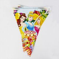 Wholesale flags Cartoon Pattern Three Princess Theme Party Birthday Party Decoration Banner For Children kids Party Supplies