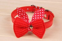 Wholesale Knit Bowknot Adjustable Leather Wool bows pet plush butterfly collars cat laps dog Puppy PU collars supplies Products favors multicolor
