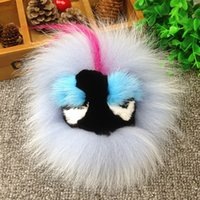accessory bag blue - high quality Mink fur accessories fashion little monsters plush Ball pendant fur handbag bag charms key rings