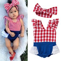 Wholesale Summer baby girls clothing toddler Rompers Coverall Red plaid Jumpsuits With Headband Kids Romper headdress suit kids clothes