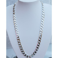 Wholesale Real k white gold filled men s fashion solid necklace curb link chain mm G size inches color silver