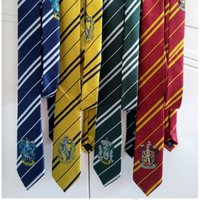 Wholesale Harry Potter Tie Gryffindor Slytherin Ravenclaw Hufflepuff Badge Ties Necktie Neckwear Costume Accessory Tie Free DHL XL Q04