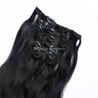 Compra Extensión del pelo humano clip de la cabeza llena-Clip en las extensiones el clip derecho del pelo virginal brasileño principal completo de las extensiones 100g 28inch en las extensiones libera el envío