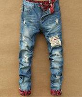 Wholesale Men s Slim Skinny Runway Straight Elastic Denim Pants Destroyed Ripped Jeans