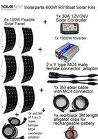 600W DIY комплекты Солнечная система 6 x100W гибкая солнечная панель 12V, 1 x 30A солнечный контроллер, 1x 1000W инвертор, полный кабель для универсальной
