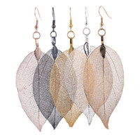 Wholesale Gold Leaf Natural True Leaf Drop Earrings Alloy Earrings