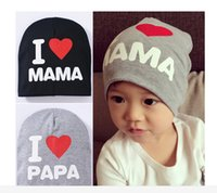 Boy Summer Crochet Hats 2016 New Autumn Cheap Baby Hat Knitted Warm Cotton Toddler Beanie Baby Cap Kids Girl Boy I LOVE PAPA MAMA Print Kid Hats BH61