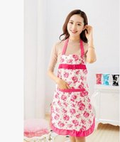 Wholesale 6 colors women Colorful Princess waterproof Apron Kitchen Restaurant Antifouling Ruffled lace bow Apron Floral Overalls Pinafore