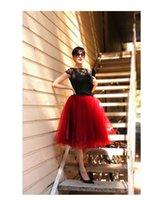 Wholesale Red A Line Knee Length Tulle Skirts For Women Pettiskirt Bouffant High Waist Princess Womens Tulle Skirt