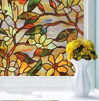 Wholesale PVC x100cm No glue static colorful painted magnolia cellophane translucent opaque bathroom window stickers living room bedroom window film