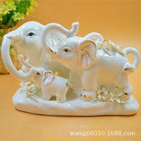 Wholesale Modern simple three small elephant creative craft Decoration household items home decoration ceramic art