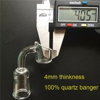 Wholesale 4mm Thick Real Quartz Banger mm mm mm Quartz Domeless Nail Female Male Degrees Quartz Banger Nail Glass Bong