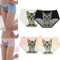 Wholesale Fashion Women Girls Sexy Lingeries Intimates Briefs Panties Pussy Cat Print Panty Nylon Underpants Underwear NX255