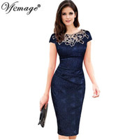 Wholesale Vfemage Womens embroidery Elegant Vintage Dobby fabric Hollow out embroidered Ruched Pencil Bodycon Evening Party Dress