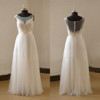 Wholesale 2017 Real Photo Sheer Neck Wedding Dresses New Sexy Custom Made A Line Floor Length Illusion Bodice Hot Sale Design Bride Gowns Actual Image