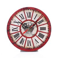 Wholesale 2Pcs Vintage Index Dial Wood like Wall Clock Creative Design Living Room Office Silent Small Clock Home Arts Decor Dia cm