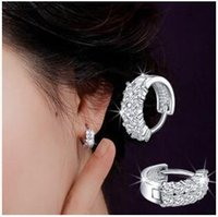Wholesale 925 Tremella clasp double row diamond ear clip White plating bright starry night ShanZuan ear clip