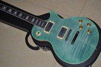 big blue guitar - Hot SaleTop Selling LP R9 blue electric guitar big tiger flame custom guitar EMS
