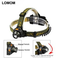 Wholesale Portable Lighting Headlamps LOMOM Motion Sensing Rechargeable Cree Led Headlamp Sensor Head Light Cycling Flashlight AAA
