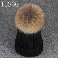 Prezzi Wool hat-Cappello di inverno per le donne gli uomini visone e cappello di lana della pelliccia di Fox sfera Cap Pom Poms della ragazza cotone lavorato a maglia Berretti Cap Brand New Spesso femminile