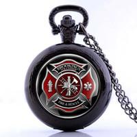 antique pocket watch fobs - Antique Fire Fighter Control Theme Quartz Pocket Watch Fob Men Women Necklace Retro Gift Pendant Fast Shipping