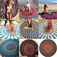Wholesale Round Mandala Beach Towels Printed Tapestry Hippy Boho Tablecloth Bohemian Beach Towel Serviette Covers Beach Shawl Wrap Yoga summer