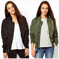 Wholesale Women Bomber Jacket Autumn Spring Ladies Jackets Tops Solid Color Zipper Baseball Coats Slim Sport Jackets Women Black Green