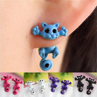Wholesale The latest styles lovely cat earrings D animal cartoon cat pierced earrings Crystal alloy earrings