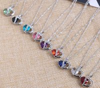 Wholesale 5 pc set Solid Silver Love Pendant Amethyst Crystal Charm Fit Necklace Jewelry Mixed Style