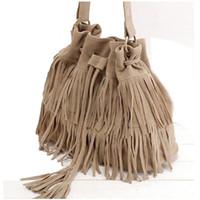 Wholesale Women bag ladies shoulder Summer women s handbags famous brands canvas Brown soft bag with fringe tassel Fashion Messenger Bag