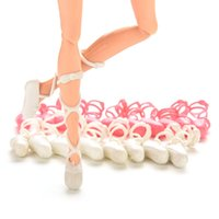 ballet shoes for dolls - 10 Pairs Mixed Colors Bind type Ballet Shoes For Dolls Fashion Dolls Shoes Toe Shoes Accessories
