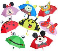 Wholesale 2017 Girls Boys Cute Cartoon Animal Umbrella Children s Umbrellas frog beetle Butterfly Bear Lion Kids Student Rain Gear