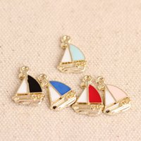 alloy craft boats - 10pcs Zinc Alloy Mini Enamel Sailing Boat Charm Pendant DIY Bracelet Necklace Jewelry Fingdings Handmade Craft mm