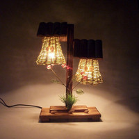 Wholesale Vintage wooden desk lamp Creative household adornment bedroom lamp classic indoor lighting romantic arts and crafts