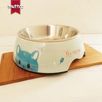 Wholesale dog lovers detachable dual antiskid Melamine blue cat dog bowl DB