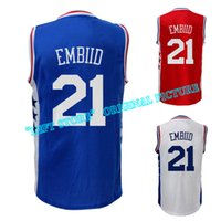 Wholesale joel embiid Men new cheap Stitched logos joel embiid Blue White Red colors jersey