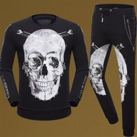 Wholesale New Arrival Fashion Autumn and Winter Suits PP Skull Printed Design Long Sleeved Hooded Sweater Mens Casual Sets Hot Sale