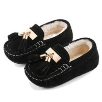 Wholesale New Arrival Children Autumn Winter Warm Shoes baby first walkers soft bottom Shoes Flat for Girls and Boys Kids Fringe Shoes